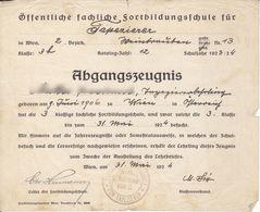 AD098 - Abgangszeugnis Öffentliche Fachliche Fortbildungsschule Für Tapzierer, Wien 1924 - Diplome Und Schulzeugnisse