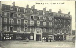 CPA DE SANNOIS  (VAL D'OISE)  PLACE DE LA GARE - Sannois