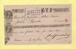 Belgique - Verviers - 1907 - 20c Grosse Barbe Utilisation Sur Recu Pour Pepinster - 1905 Thick Beard
