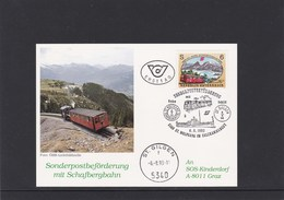 SOS Kinderdorf Sonderpostbeförderung Schafbergbahn St. Gilgen 1993 - Österreich