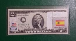 USA : Billet De 2 $ 1976 San Francisco Et Timbre Annuler Drapeau Espagne GEM NC - Collections