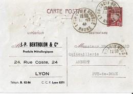 Entier Postal 1,20 Petain Repiqué Berthelon Lyon - Marcophilie (Lettres)