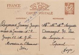 Entier Postal 80c Iris Chantier De Jeunesse 9 - Marcophilie (Lettres)