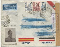 ESPAÑA SPAIN CIVIL WAR COVER FRANCO GERMANY REICH NAZI SEVILLA AIR POSTMARK CENSORED - Entiers Postaux