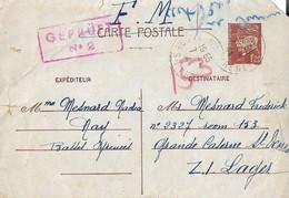 Entier Postal 1.20F Petain Camp Internement De St Denis - Poststempel (Briefe)