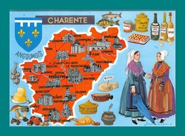16 Charente Carte Géographique ( Champignons, Funghi, Cepes, Noix, Truffes, Morilles, Escargots, Villebois, Cognac ) - Francia