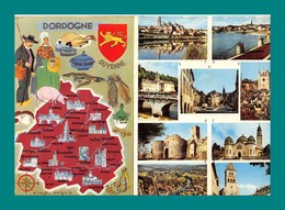 24 Dordogne Carte Géographique ( Champignons, Funghi, Cepes, Noix, Truffes, Cochon Qui Cherche La Truffe Cavage ) - Francia