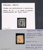 1866/74 Finland 1 Mark Serpentine Roulette II Type $ 2.000,00 Raritan Stamps - Usati