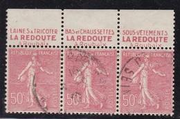 PUBLICITE: SEMEUSE LIGNEE 50C ROUGE LA REDOUTE BANDE DE 3 HAUT ACCP 462/464/466 OBLITERES - Advertising
