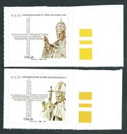 Italia 2014 ; Canonizzazione Di Papa Giovanni XXIII E Papa Giovanni Paolo II : Serie Completa Di Bordo Destro. - 2011-...:  Nuovi