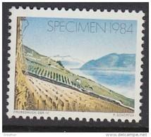 Probedruck SSR IV Der PTT Schweiz, Specimen 1984, Landschaft Mit Weinberg - Variétés