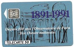 Telecarte 50 - Observatoire De Paris 1891-1991 - Astronomy