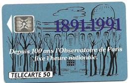 Telecarte 50 - Observatoire De Paris 1891-1991 - Astronomia