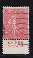 PUBLICITE: SEMEUSE LIGNEE 50C ROUGE LAINES ST EPIN BAS ACCP 371 OBLITERE - Advertising