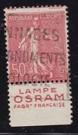 PUBLICITE: SEMEUSE LIGNEE 50C ROUGE LAMPE OSRAM-fabrication Française BAS ACCP 401 OBLITERE - Advertising