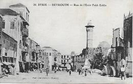 LIBAN LEBANON BEYROUTH RUE DE L'EMIR FAKH EDDIN BIEN ANIMEE 1926 - Lebanon