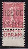 PUBLICITE: SEMEUSE LIGNEE 50C ROUGE LAMPE OSRAM  BAS ACCP 395 OBLITERE - Advertising