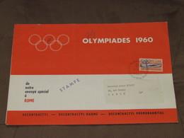 ITALIE / Rome - Document Avec 1 Timbre 08/09/1960 - OLYMPIADES Publicité Classement Médailles N°4 Du 7 Sept - Orange - Italien