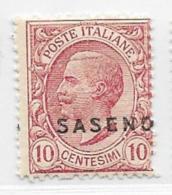 Saseno, Scott # 1 Mint Hinged Italy Stamp Overprinted, 1923 - Saseno