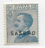 Saseno, Scott # 4 Mint Hinged Italy Stamp Overprinted, 1923 - Saseno