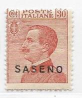 Saseno, Scott # 5 Mint Hinged Italy Stamp Overprinted, 1923 - Saseno