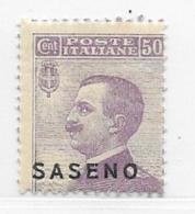 Saseno, Scott # 6 Mint Hinged Italy Stamp Overprinted, 1923 - Saseno