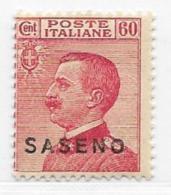 Saseno, Scott # 7 Mint Hinged Italy Stamp Overprinted, 1923 - Saseno