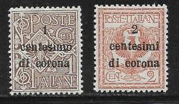 Italy Occupation Of Austria General, Scott # N64-5 Mint Hinged Italy Stamps Surcharged, 1919 - 8. WW I Occupation