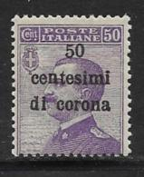Italy Occupation Of Austria General, Scott # N72 MNH Italy Stamp Surcharged, 1919 - 8. WW I Occupation