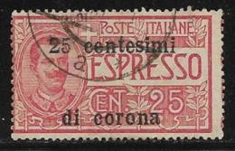 Italy Occupation Of Austria General, Scott # NE2 Used Italy Express Stamp Surcharged, 1919 - 8. WW I Occupation