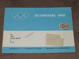 ITALIE / Rome - Document Avec 1 Timbre De 1960 - OLYMPIADES Publicité Classement Médailles N°6 De Sept - Bleu - Italia