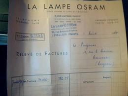 Vieux Papier Facture Publicité La Lampe Osram Annee 1960 - France
