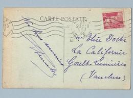 N° 712 Marianne De Gandon Seul Sur CP Nice RP 23/11/45 - Postmark Collection (Covers)