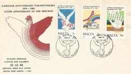 MALTA FDC 1984 10th Anniversary Of Republic - Malta