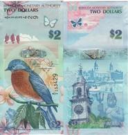 BERMUDA 2 Dollars  Very Attracitve  Birds  P57c New Signature Dated 1.1.2009 (2018) Serial A/2 UNC - Bermudes