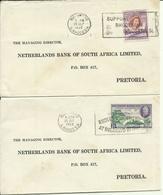 1953  Southern Rhodesia  2 Letters From Bulawayo To Pretoria - Rhodésie Du Sud (...-1964)