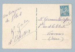 N° 655 Seul Sur CP De Ducey 15/3/45 Vers Vincennes - Postmark Collection (Covers)