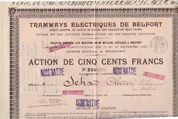 Action 1897 Nominative 500 Francs / Tramways électriques Belfort - Actions & Titres