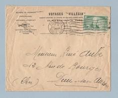 N° 303 Seul Sur Enveloppe Avec Entête Voyage Villégia Paris 20/6/35 - Postmark Collection (Covers)