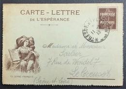 Pseudo Entier Postal Carte-lettre De L'Espérance ALSACIENNE Simili Timbre Semeuse Franchise Militaire > Le Creusot - Marcophilie (Lettres)