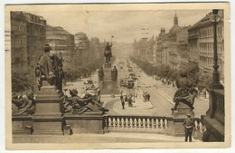 Praga - Praha - Piazza Venceslao - 1937 Animata - Cartoline