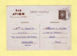Entier Type Petain - Par Avion Taxe Percue 2f80 - Casablanca Bourse Destination Paris - 1942 - Morocco (1891-1956)
