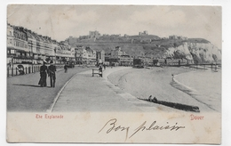 (RECTO / VERSO) DOVER EN 1903 - THE ESPLANADE WITH PEOPLE - PETIT PLI ANGLE HAUT - BEAU TIMBRE ET CACHET - CPA VOYAGEE - Dover