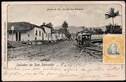 El Salvador Horse Tramways On Barrio San Jacinto, San Salvador Postcard 1906 - Salvador