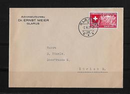 HEIMAT GLARUS → Brief Advokatenbüreau Dr. Ernst Meier Glarus Nach Zürich 1939 - Suisse
