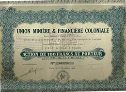 Titre Ancien - Union Minière & Financière Coloniale Société Anonyme - Titre De 1927 - Industrie