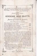 DIEST ANGLETERRE Révérende Soeur Zuster COLETTE Marie-Catherine SCHOTS 1819-1883 Pauvres-Claires Coletines Louvain DP - Overlijden