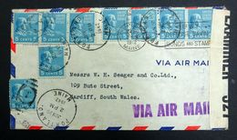 USA 1942 Censored Airmail Cover, Ringed/Duplex + Slogan Cancels, Portland Maine To Cardiff Wales UK. - Stati Uniti