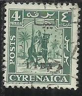 LIBIA LIBYA 1951 REGNO INDIPENDENTE EMISSIONE PER LA CIRENAICA CYRENAICA 4m USATO USED OBLITERE' - Libia