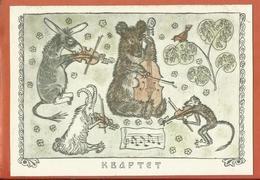1969 M Alekseev Illustration Fable Quartet Bear Donkey Goat Monkey Nightingale Violin Clean - Orsi